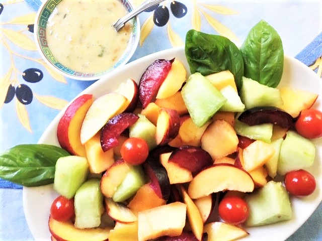 Summer Fruit and Tomato Salad with Apricot-Basil Dressing