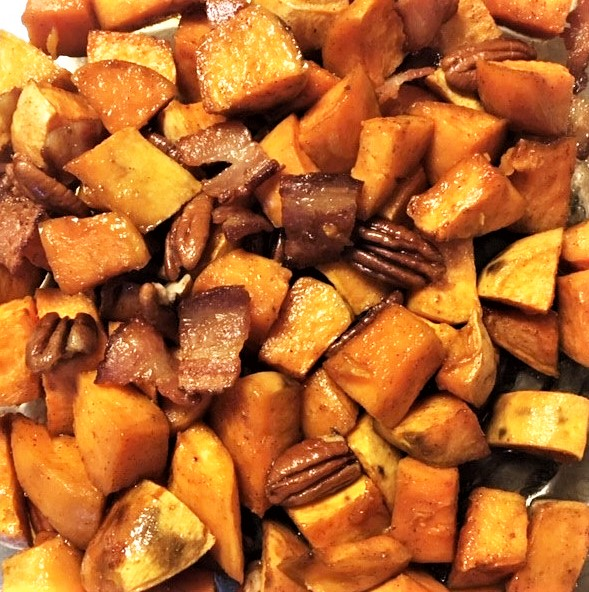 SPICY SWEET POTATOES WITH BACON AND PECANS
